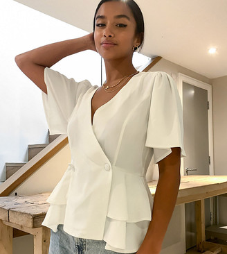 ASOS DESIGN Petite tux top with angel sleeves and button detail in Ivory