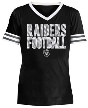 5th & Ocean Big Girls Oakland Raiders Sequin Stripe T-Shirt