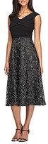 Alex Evenings V-Neck Embroidered Tea-Length Dress
