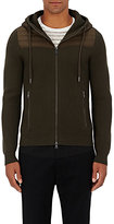 Moncler Men's Wool Zip-Front Hoodie-DARK GREEN