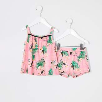 River Island Mini girls Pink floral print cami top outfit