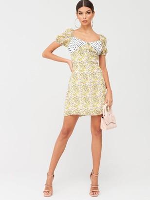 Missguided Floral Spot Print Square Neck Mini Dress - Yellow