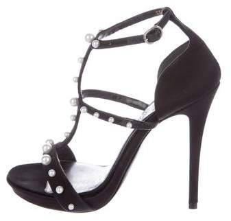 Alexander McQueen Satin Embellished Sandals