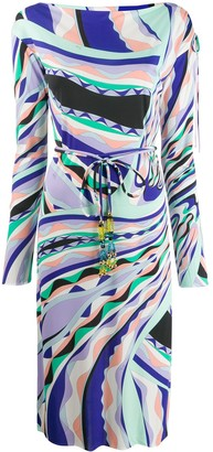 Emilio Pucci Belted Midi Geometric Dress