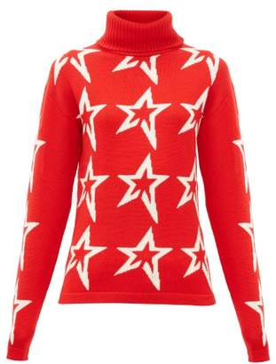 Perfect Moment Stardust Star-intarsia Roll-neck Wool Sweater - Womens - Red Print