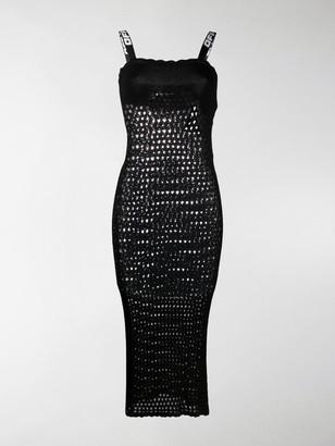 Off-White Open Knit Sleeveless Dress