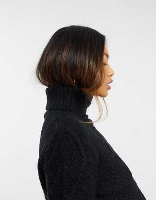 AX Paris turtle neck cable knit sweater in black