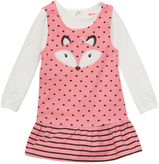 Nannette Kids Girls' Casual Dresses CORAL - Coral Fox Dot Jumper & Ivory Bodysuit - Newborn, Infant & Toddler