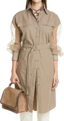 Brunello Cucinelli Long Sleeve Cotton Shirtdress