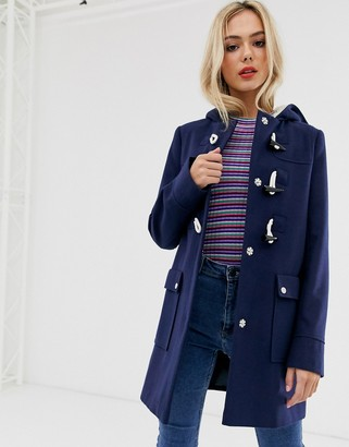 Asos Design DESIGN classic duffle with pocket detail coat-Navy