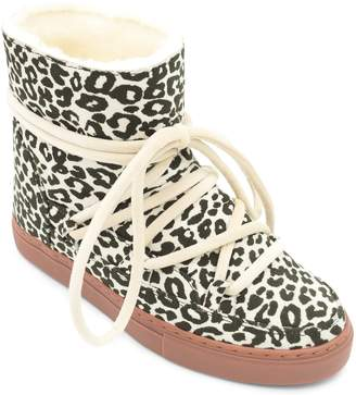 INUIKII Leopard Print Genuine Shearling Sneaker Boot