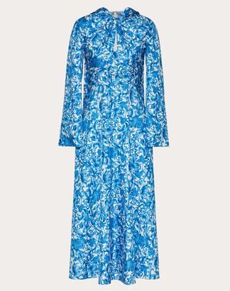 Valentino Printed Twill Dress Women Ivory/blue Silk 100% 42