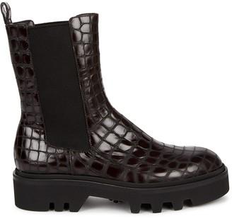 Dries Van Noten Dark Brown Crocodile-effect Leather Chelsea Boots