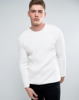 Lindbergh Sweater In Cream Rib Knit