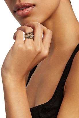 Effy Black Rhodium-Plated 14K Rose Gold, 0.74 TCW White & Espresso Diamond Ring