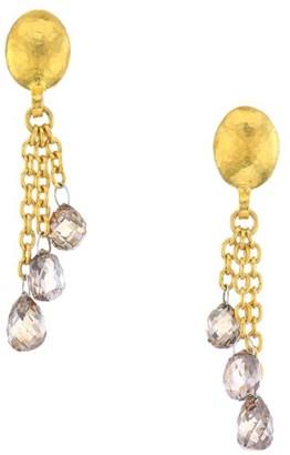 Gurhan Delicate Diamond & 24K Yellow Gold Chain Earrings