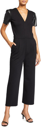 MICHAEL Michael Kors V-Neck Ponte Jumpsuit w/ Faux Leather Sleeves