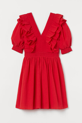 H&M Ruffle-trimmed Dress - Red