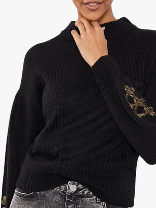 Mint Velvet Military Knit Jumper, Black
