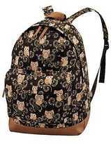 Yours Clothing YoursClothing Womens Owl Backpack Rucksack Adjustable Straps Front Pocket Black