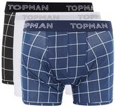 Topman Navy and Black Grid Check Trunks 3 Pack