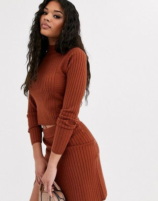 ASOS DESIGN rib two-piece sweater with cross back detail