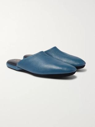 Charvet Textured-Leather Slippers - Men - Blue