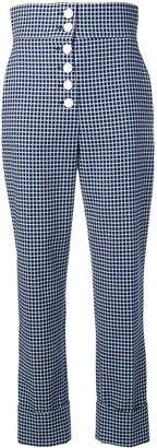 Sara Battaglia High-Waisted Checked Trousers