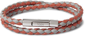 Tod's Woven Leather And Silver-tone Bracelet - Orange