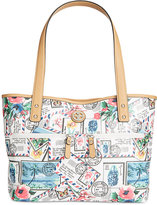 Giani Bernini Postcard Print Canvas Tote, Only at Macy's