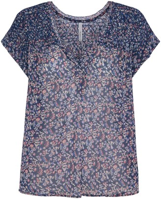 Pepe Jeans Floral Print Blouse with Short Sleeves
