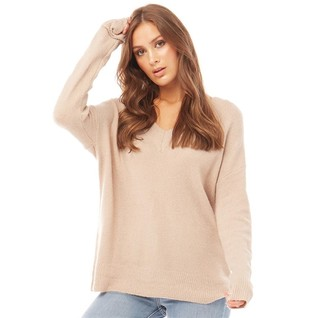 Brave Soul Womens Mitch V Neck Jumper Pebble