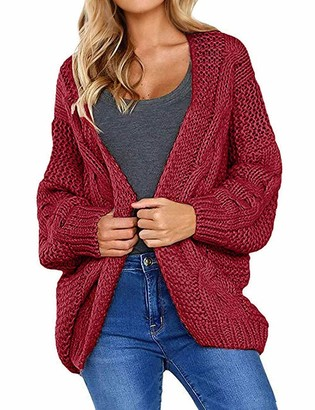 YNALIY Womens Cable Knit Chunky Cardigans Open Front Long Sleeve Sweater Blouse Tops Wine Red