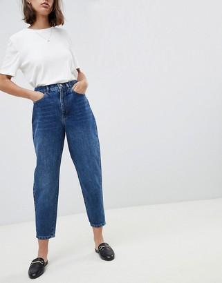 Asos Design DESIGN Balloon leg boyfriend jeans in dark wash blue