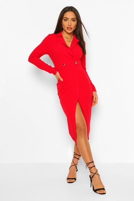boohoo Long Sleeve Wrap Midi Blazer Dress