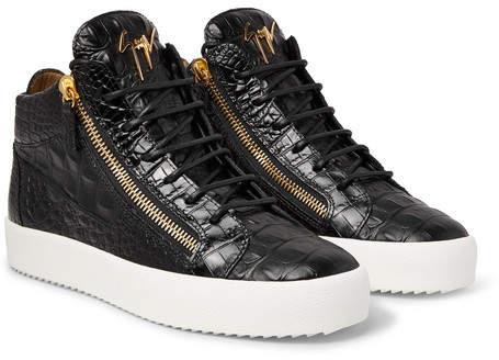 Giuseppe Zanotti Logoball Croc-Effect Leather High-Top Sneakers