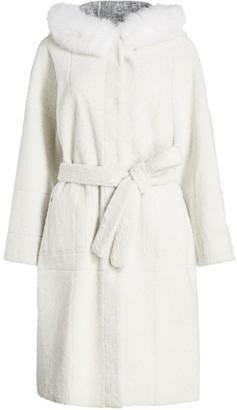 The Fur Salon Reversible Belted Shearling & Fox Fur-Trim Hooded Jacket