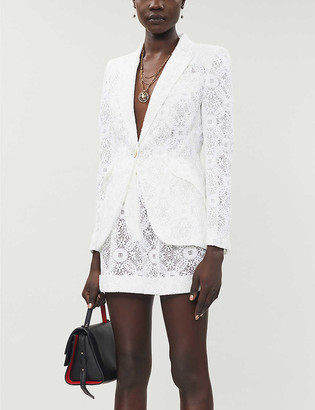 Alexander McQueen Floral-lace cotton and silk-blend shorts