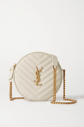 Saint Laurent Circle Quilted Textured-leather Shoulder Bag - Off-white