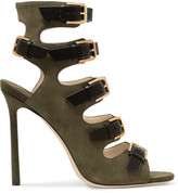Jimmy Choo Trick Suede And Leather Sandals - Army green