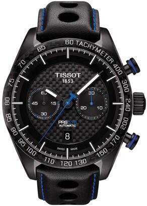 Tissot Men's Prs 516 Automatic Chronograph Swiss Leather Strap Watch, 45mm