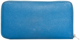 Hermes Blue Epsom Leather Azap Zip-Around Wallet