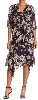 Gabby Skye Floral 3/4 Sleeve Faux Wrap Midi Dress