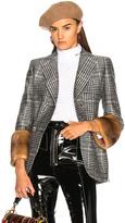 Fendi Mink Fur Cuff Double Breasted Blazer in Black,Checkered & Plaid.