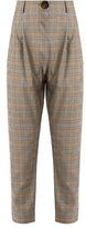 Awake High-waist checked wool trousers