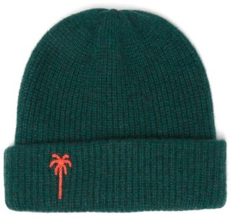 The Elder Statesman Palm Tree-embroidered Cashmere Beanie Hat - Womens - Green Multi