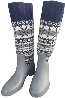 Chanel Grey Tweed Boots