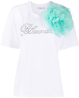 Blumarine mesh flower short sleeve T-shirt