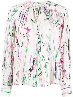 Isabel Marant Favallia scribble print blouse