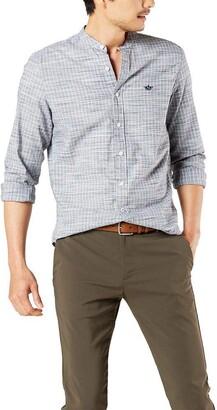 Dockers Long Sleeve Slub Band Collar Woven Shirt